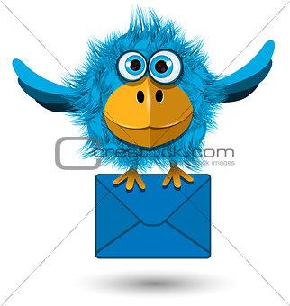 Blue Bird with a Blue Envelope
