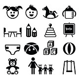 Kindergarten, nursery, preschool icons set
