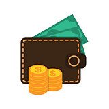 Wallet with money and coins