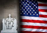 Lincoln Memorial in Washington and American flag