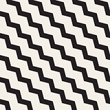 Vector Seamless Black and White ZigZag Diagonal Lines Geometric Pattern