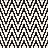 Vector Seamless Black and White ZigZag Jagged Lines Geometric Pattern