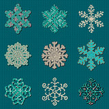 Set of Nine Vector Cute Sewn Knitted Snowflakes