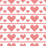 Seamless pattern with cross-stitch hearts