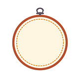 Empty embroidery hoop isolated on white background.