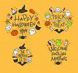 Halloween flat monograms mustard
