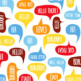 "Speech bubbles with ""Hello"" on different languages"
