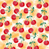 Fresh watercolor summer background  with cherries