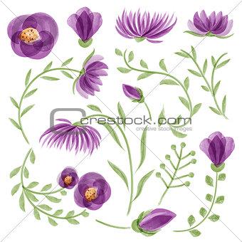 Watercolor vector floral set