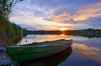 Fisherman boat on Danube Delta