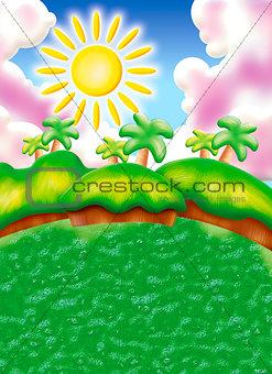 beautiful cartoon landscape