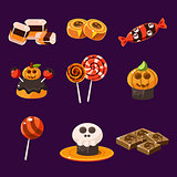 Set of Colorful Halloween Sweets and Candies Vector Illustration