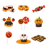 Colorful Traditional Halloween Sweets Vector Illustration