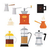 Flat modern icons for coffee shop. Vector