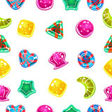 Vector seamless background with colorful Halloween candies
