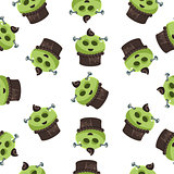 Seamless Monster Pattern Green Cupcake
