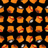 Seamless Halloween Pattern of Cupcakes Vector Illustration