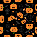 Seamless Halloween Pumpkin Pattern Vector Illustration