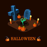 Cartoon Zombie Hand at Cemetery Halloween Vector Illustration