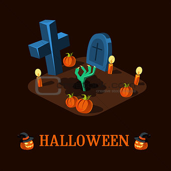 Cartoon Zombie Hand at Cemetery Halloween Vector Illustration