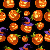 Pattern of Halloween Pumpkins in Witches Hat Vector Illustration
