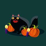 Halloween Black Cat and Pumpkins Vector Illustration
