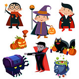 Kids Wearing Halloween Costumes Vector Illustration