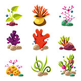 Cartoon underwater plants and creatures