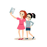 Girls Taking Selfie with Tablet. Vector Illustration in Flat Style