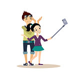 Young Couple Taking a Selfie. Vector Illustration in Flat Style