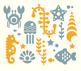 Sea Inhabitants and Plants Vector Illustration Set in Flat Style