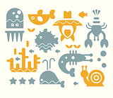 Sea Inhabitants Vector Illustration Set in Flat Style