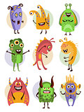 Colourful Emotional Cartoon Monsters, Vector Illustration Collection