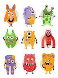 Funny Emotional Cartoon Monsters, Vector Illustration Set