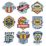 Rugby Emblem Set Vector Illustration, Flat Design