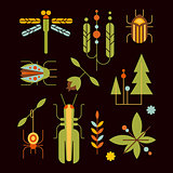 Nature, Insects, Leaves and Tree Icons Vector Illustration