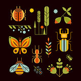 Nature, Insects and Tree Icons Vector Illustration