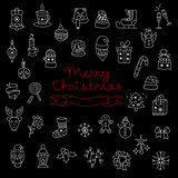Merry Christmas Pattern with Holiday Elements. Vector Illustration