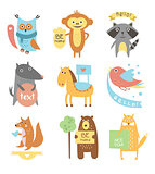 Cute Animals, Birds with Ribbons and Boards for Text