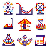 Amusement Park Icons Set of Vector Flat Design Illustrations