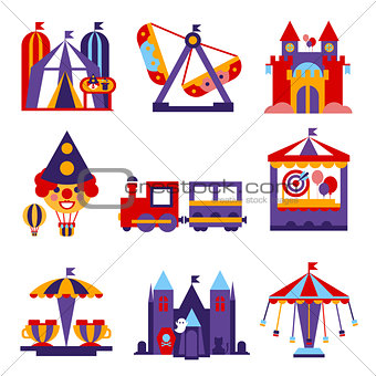 Amusement Park Vector Flat Design Illustrations Set