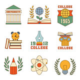 Education and College Set of Icons Vector Illustrations in Flat Design Style