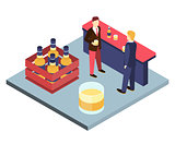 Men in suits at the bar sterilizing Isometric 3D vector illustration