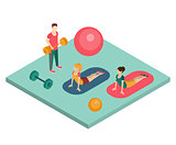 Isometric Gym Workout Flat Vector Illustration.