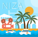 Niza Traditional Landscape Vector Illustration