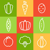 Vegetables in Line Art Style. Vector Illustrations Set.