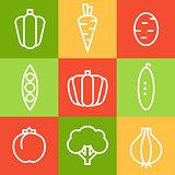 Vegetables in Line Art Style. Vector Illustrations Set.