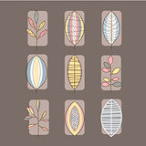Leaf Icon Set Vector Illustration in Linear Style
