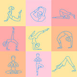 Set of Sport Excercises Line Style Icons. Vector Illustration Collection