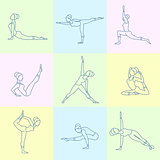 Sport Excercises and Yoga Line Style Icons Set. Vector Illustration Collection